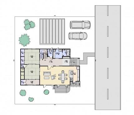 図面_家族みんなでくつろぐリビングからオープンデッキへ光を感じる2世帯住宅60坪_1F