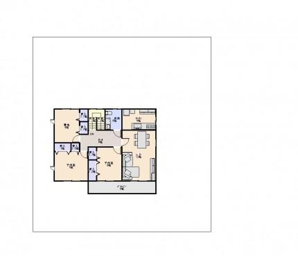 図面_家族みんなでくつろぐリビングからオープンデッキへ光を感じる2世帯住宅60坪_2F