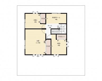 図面_広々リビングに2階はゆったり個室。多目的ホールを備えた40坪_2F