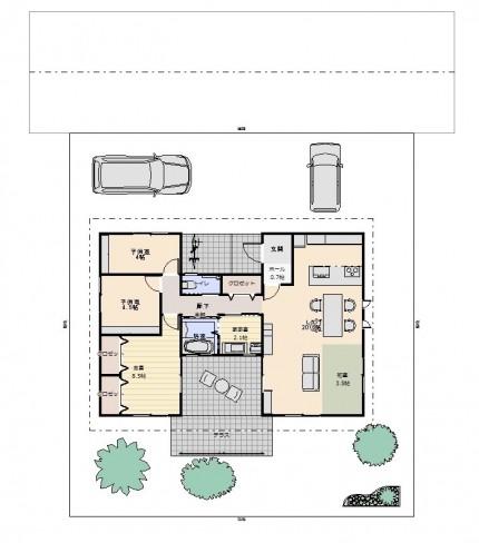 図面_家族で楽しむ平屋住宅30坪